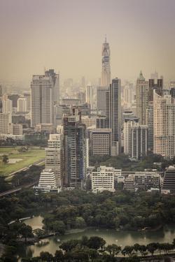 Bangkok Skyline, Including Baiyoke Tower Ii (304M) and Lumphini Park, Bangkok, Thailand by Andrew Taylor