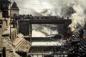 Pashupatinath Cremation Ghats Alongside the Bagmati River by Andrew Taylor