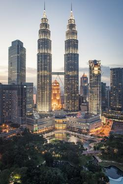 Petronas Towers and Klcc, Kuala Lumpur, Malaysia, Southeast Asia, Asia by Andrew Taylor