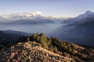 Tourists Gather on Poon Hill to Watch the Sunrise over the Annapurna Himal by Andrew Taylor