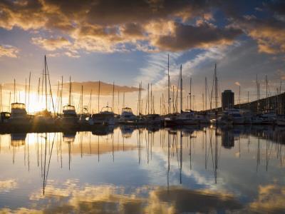 Australia, Tasmania, Hobart; Sunrise over Sandy Bay Marina