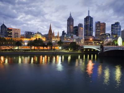 Australia, Victoria, Melbourne; Yarra River and City Skyline by Night