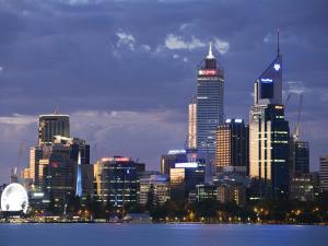 Australia, Western Australia, Perth; the Swan River and City Skyline at Dusk by Andrew Watson
