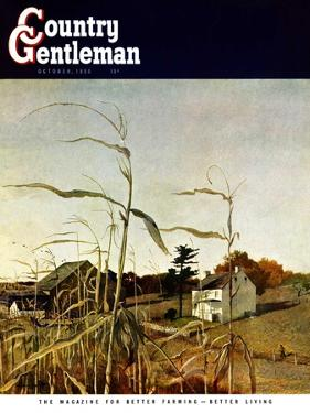 """""""Autumn Cornfield,"""" Country Gentleman Cover, October 1, 1950 by Andrew Wyeth"""