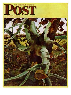 """Sycamore Tree and Hunter,"" Saturday Evening Post Cover, October 16, 1943 by Andrew Wyeth"
