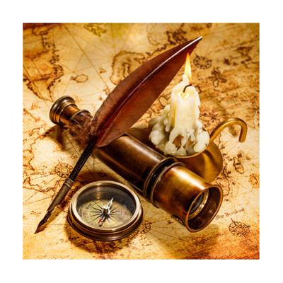 Vintage Compass, Quill Pen, Spyglass Lie On An Old Ancient Map With A Lit Candle