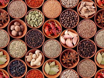 Seamless Texture of Spices on Black Background by Andrii Gorulko