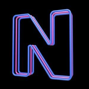 3D Neon Alphabet, Letter N Isolated On Black Background by Andriy Zholudyev