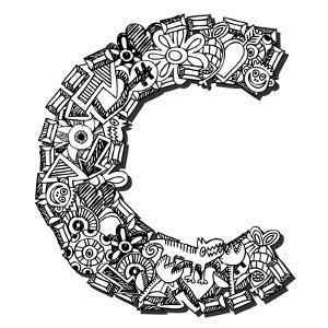 Childlike Doodle Abc, Crazy Letter C Isolated On White Background by Andriy Zholudyev