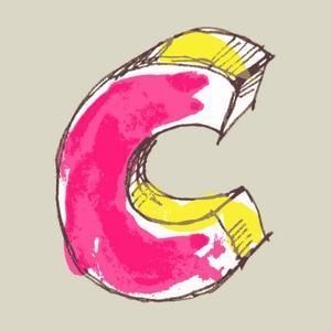 Childlike Gouache Alphabet, Hand Drawn Letter C by Andriy Zholudyev