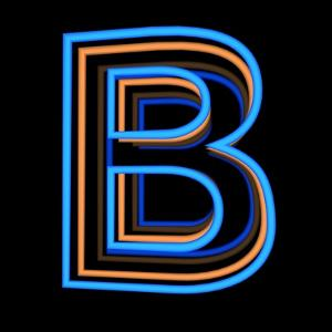 Glowing Letter B Isolated On Black Background by Andriy Zholudyev
