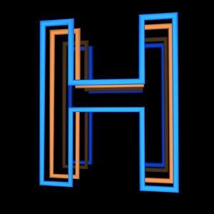 Glowing Letter H Isolated On Black Background by Andriy Zholudyev
