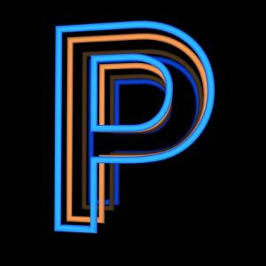 Glowing Letter P Isolated On Black Background by Andriy Zholudyev
