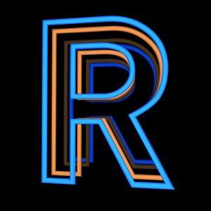 Glowing Letter R Isolated On Black Background by Andriy Zholudyev