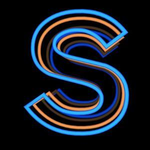 Glowing Letter S Isolated On Black Background by Andriy Zholudyev