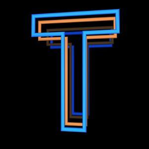 Glowing Letter T Isolated On Black Background by Andriy Zholudyev