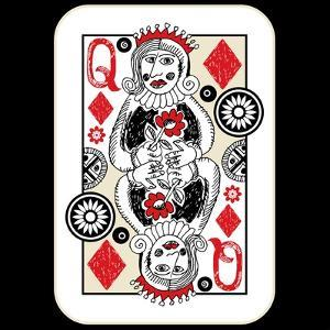 Hand Drawn Deck Of Cards, Doodle Queen Of Diamonds by Andriy Zholudyev