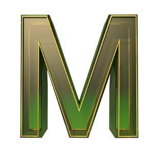 Transparent Emerald Green Alphabet With Gold Edging, 3D Letter M Isolated On White by Andriy Zholudyev