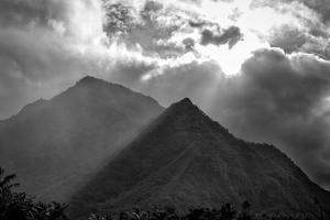 Cloud Shrouded Mountains Above Teahupoo by Andy Bardon
