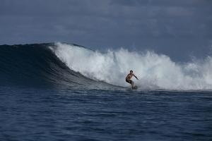 Surfing a Wave Off Tahiti Island by Andy Bardon