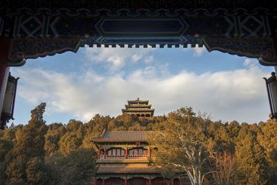 Pagodas and Jingshan Hill, Beijing, China, Asia