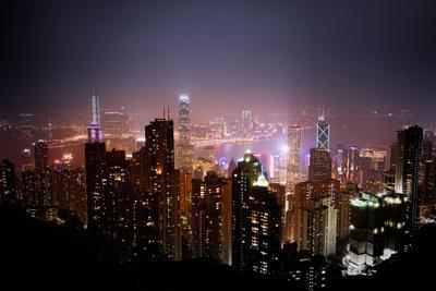 Skyscrapers of Wan Chai at Night, Hong Kong, China, Asia