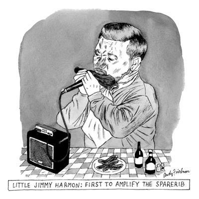 A man sits at a table in front of a plate of ribs, holding a ribs like a h… - New Yorker Cartoon
