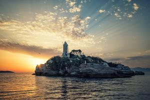 Lighthouse on an Island in the Northern Passage Between Kerkyra and Albania by Andy Mann