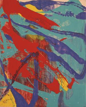 Abstract Painting, c. 1982 (aqua, red, indigo, yellow) by Andy Warhol