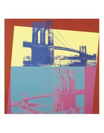 Brooklyn Bridge, 1983 (blue bridge/yellow background) by Andy Warhol
