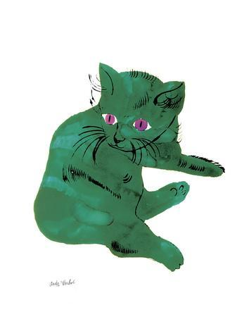"""Cat From """"25 Cats Named Sam and One Blue Pussy"""" , c. 1954 (Green Cat)"""