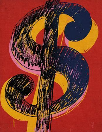 Dollar Sign, c.1981 (black and yellow on red) by Andy Warhol