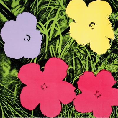 Flowers, 1970 (1 purple, 1 yellow, 2 pink) by Andy Warhol