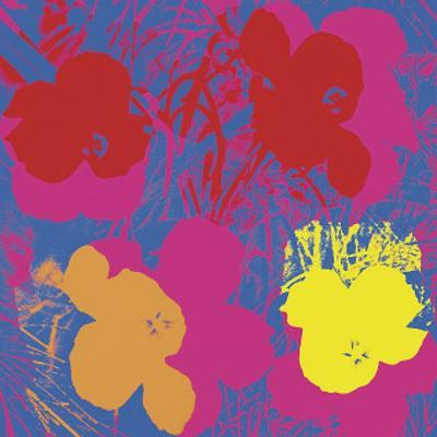 Flowers, c.1970 (Red, Yellow, Orange on Blue) by Andy Warhol