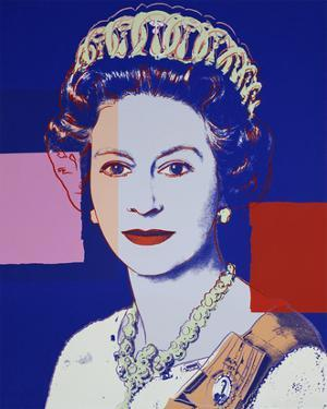 Reigning Queens: Queen Elizabeth II of the United Kingdom, 1985 (blue) by Andy Warhol