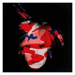 Self-Portrait, c.1986 (red, white and blue camo) by Andy Warhol