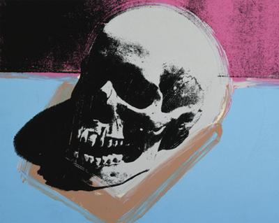Skull, 1976 (white on blue and pink) by Andy Warhol