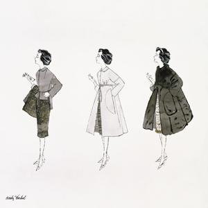 Three Female Fashion Figures, c. 1959 by Andy Warhol