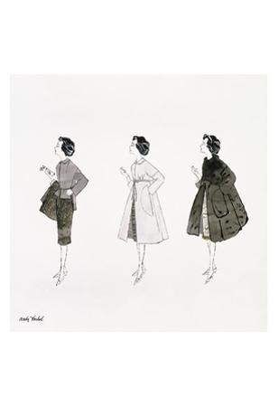 Untitled (Three Female Fashion Figures), c. 1959 by Andy Warhol