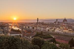Golden Rays over the Ponte Vecchio and Duomo as the Sun Sets over Florence by Aneesh Kothari
