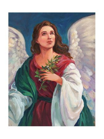 Angel Looking Heavenward with Leafy Branch in Hand