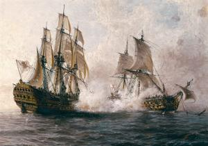 """Combat Between the Spanish """"Glorioso"""" Against the British """"Darmouth"""" by Angel María Cortellini"""