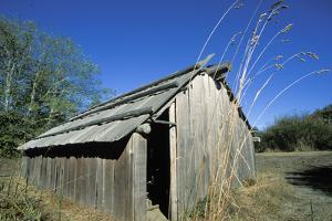 Cedar Plank Longhouse Used by the Chinook Indians, Washington by Angel Wynn