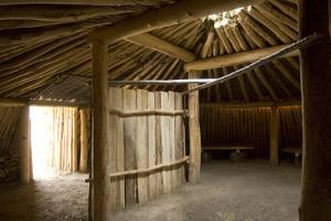 Interior of the Traditional Mandan Dome Shaped Lodge by Angel Wynn