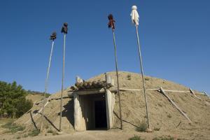Mandan Earth Lodges at On-A-Slant Indian Village, South Dakota by Angel Wynn