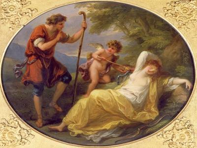 A Sleeping Nymph Watched by a Shepherd, 1780 (Oil on Copper) by Angelica Kauffmann