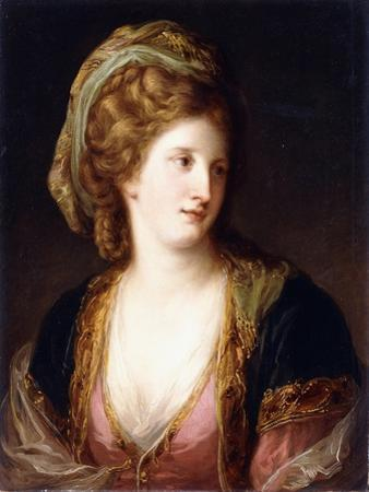 Portrait of the Artist, Bust Length, Wearing a Pink Dress and a Gold Embroidered Blue Robe, 1767 by Angelica Kauffmann