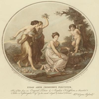 Two Nymphs Mock Cupid Who Is Tied to a Tree by Angelica Kauffmann