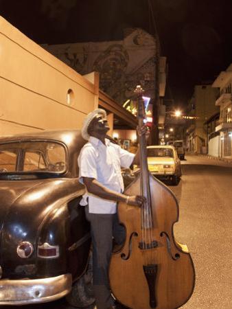 Bass Player, Santiago De Cuba, Cuba, West Indies, Central America