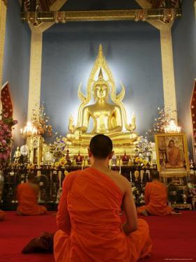 Buddhist Monk Praying, Wat Benchamabophit (Marble Temple), Bangkok, Thailand, Southeast Asia, Asia by Angelo Cavalli